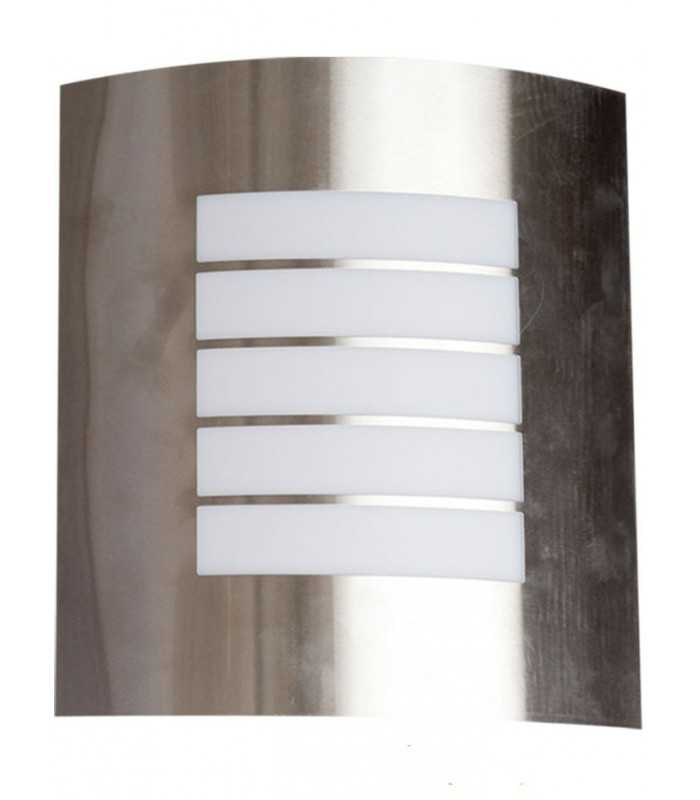 Aplique pared de acero inox con portal mparas e27 bonito for Apliques de pared exterior led