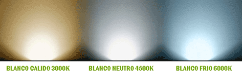 Luces led blanco calido(300K), Neutro (4500K) y blanco frio (6000K)